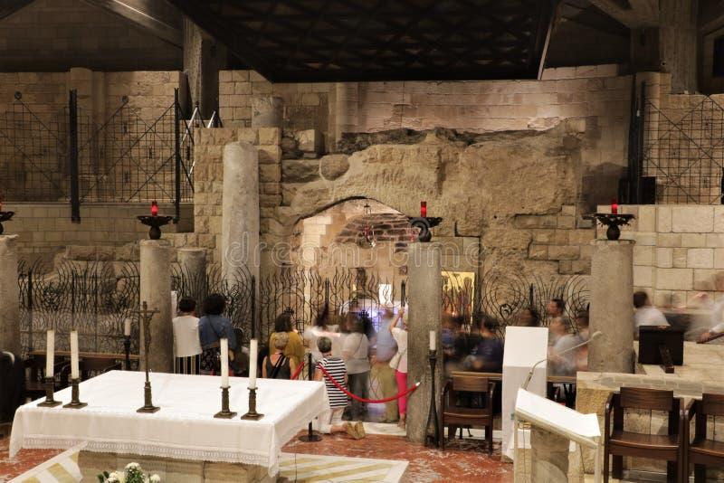 Basiliek van de Aankondiging in Nazareth, Isra?l royalty-vrije stock afbeeldingen