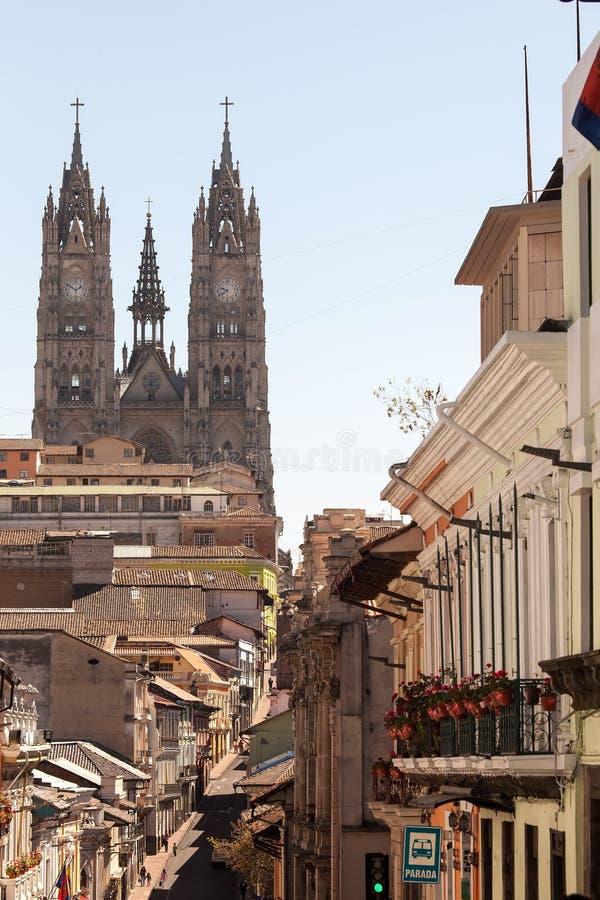 Basiliek van de Nationale Gelofte in Quito, Ecuador royalty-vrije stock afbeeldingen