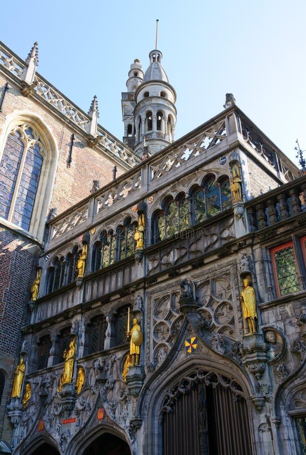 Basiliek van het Heilige Bloed in Brugge, België stock afbeelding