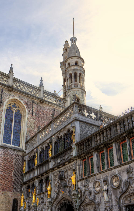 Basiliek van het Heilige Bloed in Burg in Brugge/Brugge, België stock fotografie
