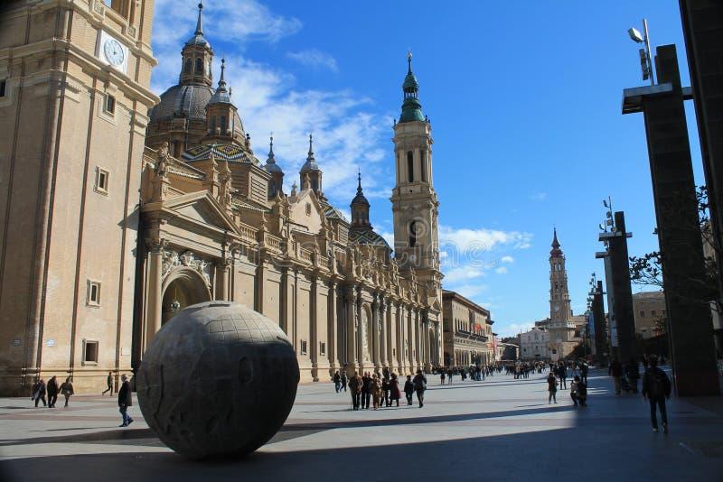 Basiliek van Onze Dame van Pilar Zaragoza royalty-vrije stock afbeeldingen
