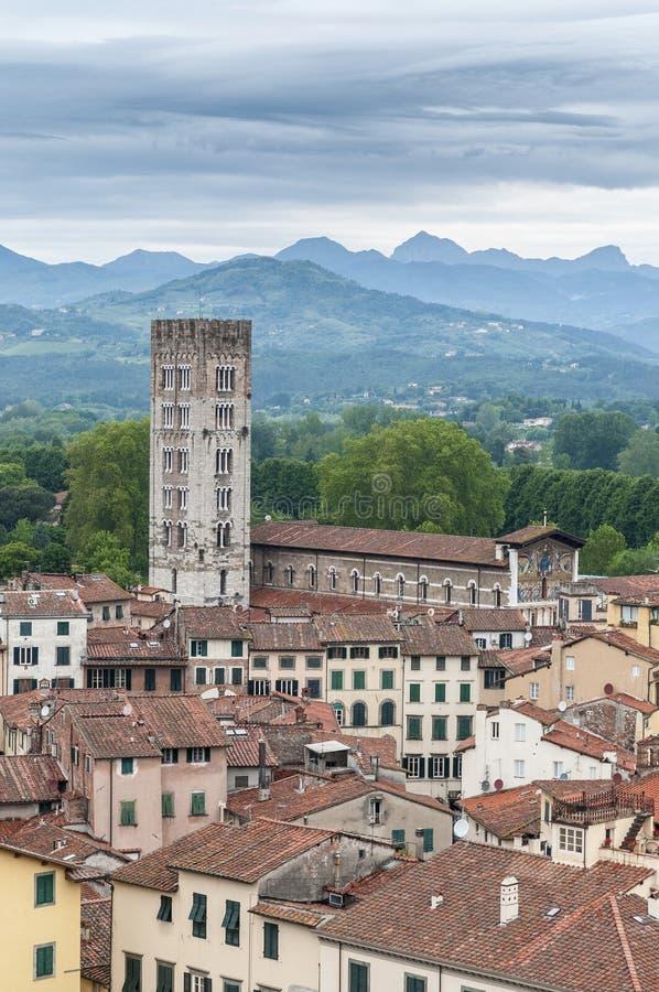 Basiliek van San Frediano in Luca, Italië. stock foto