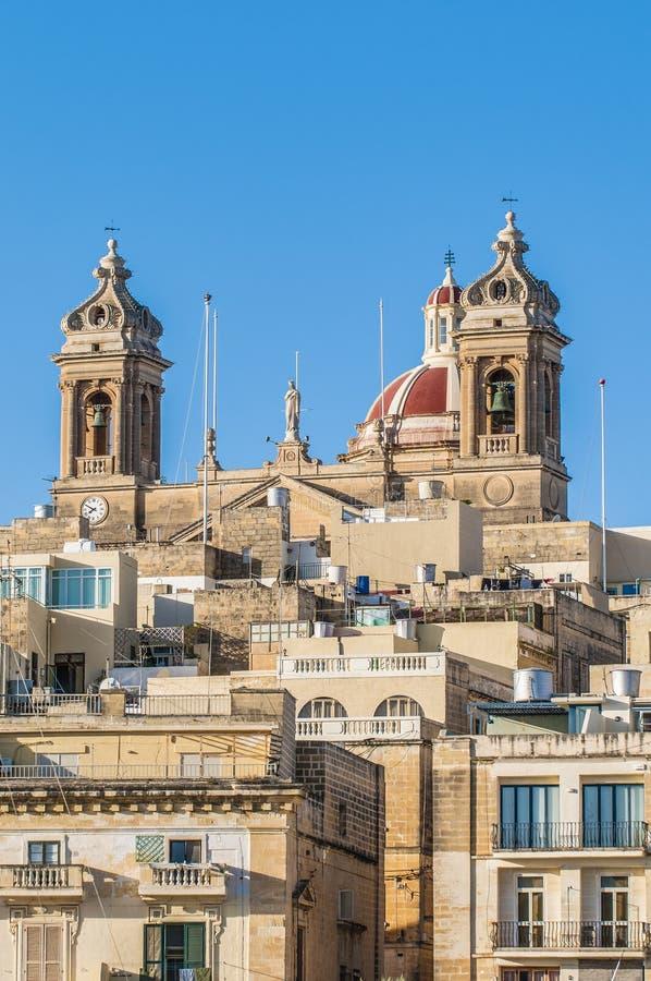 Basiliek van Senglea in Malta. stock foto's