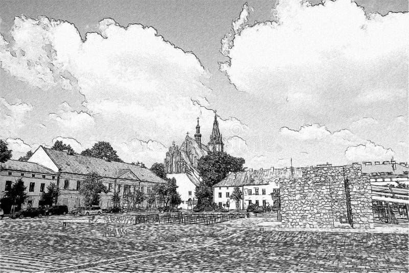 Basiliek van St Andrew in Olkusz royalty-vrije illustratie