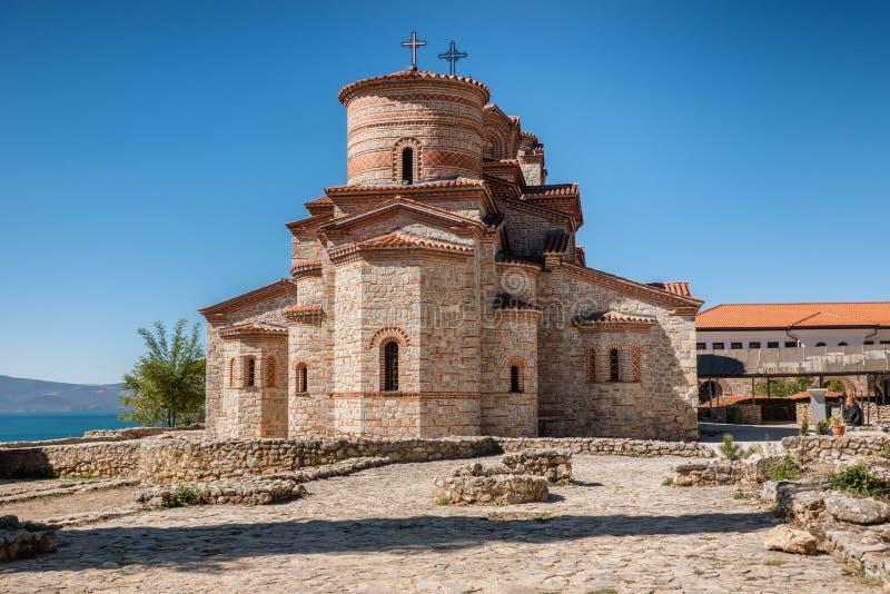Basiliek van St Mild in Ohrid in Macedonië royalty-vrije stock fotografie