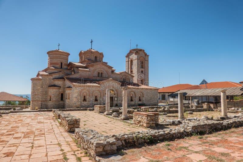 Basiliek van St Mild in Ohrid in Macedonië royalty-vrije stock foto