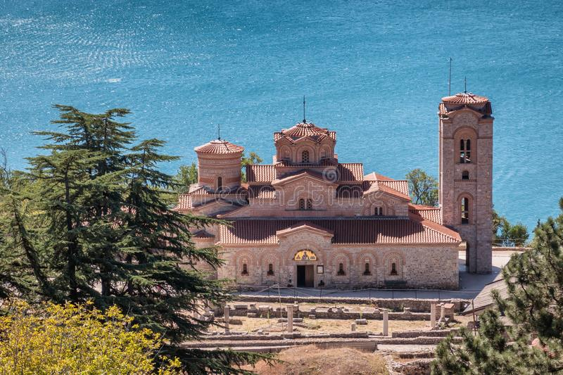 Basiliek van St Mild in Ohrid in Macedonië stock fotografie
