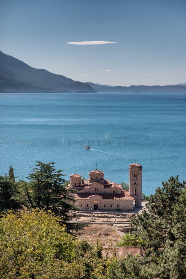 Basiliek van St Mild in Ohrid in Macedonië stock foto's