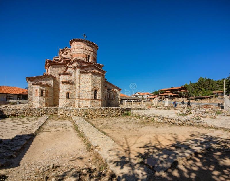 Basiliek van St Mild in Ohrid in Macedonië stock afbeeldingen