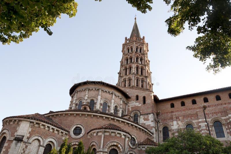 Basiliek van St. Sernin, Toulouse (Frankrijk) stock foto