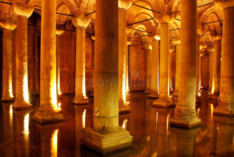 Basiliekreservoir, Istanboel, Turkije stock afbeelding