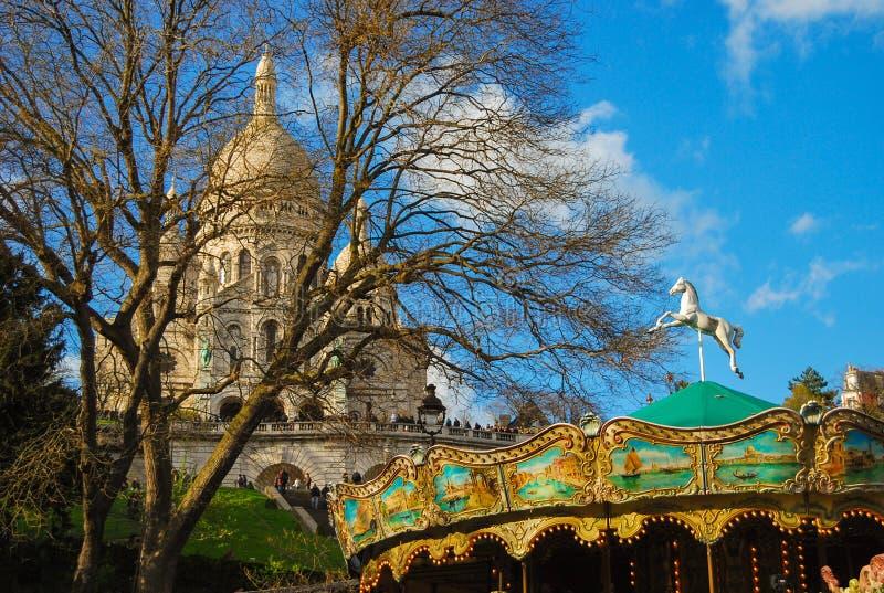 Basilika av Sacre Coeur Paris fotografering för bildbyråer