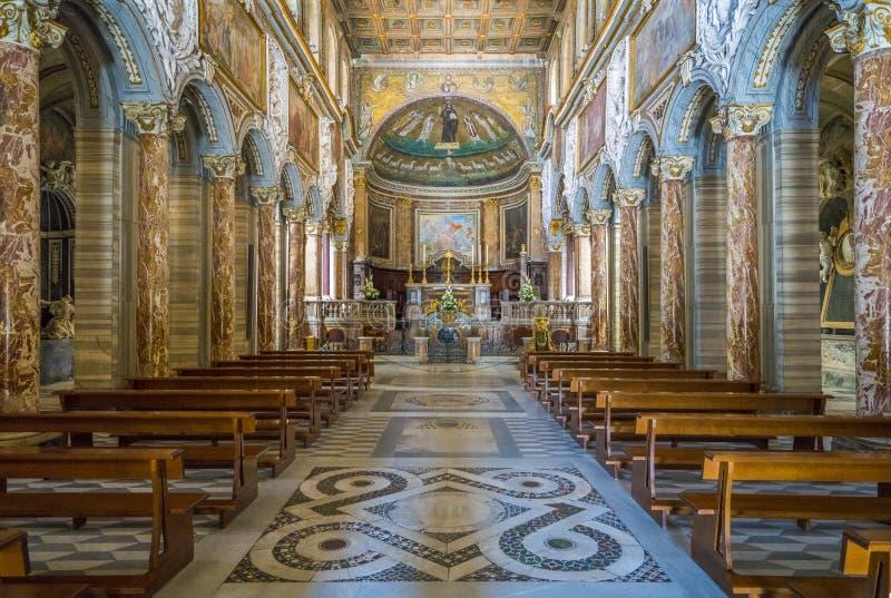 Basilika av San Marco nära den Venezia slotten och Campidoglio i Rome, Italien royaltyfria foton