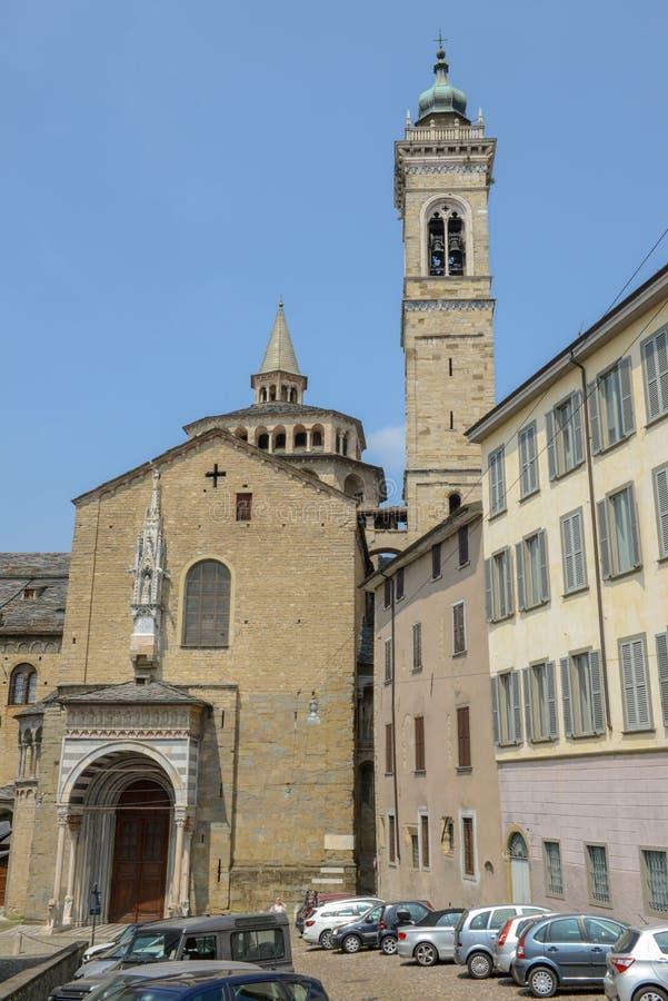 Basilika av Santa Maria Maggiore i Bergamo på Italien arkivbilder
