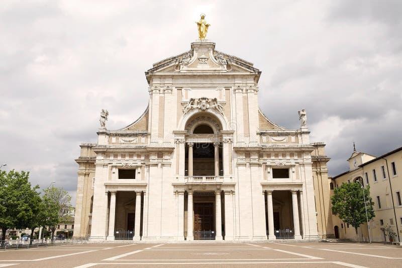 Basilika av St Mary av änglarna i Assisi, Umbria, Italien royaltyfria foton