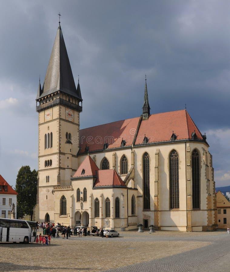 Basilika av stEgidiusen i Bardejov arkivfoto