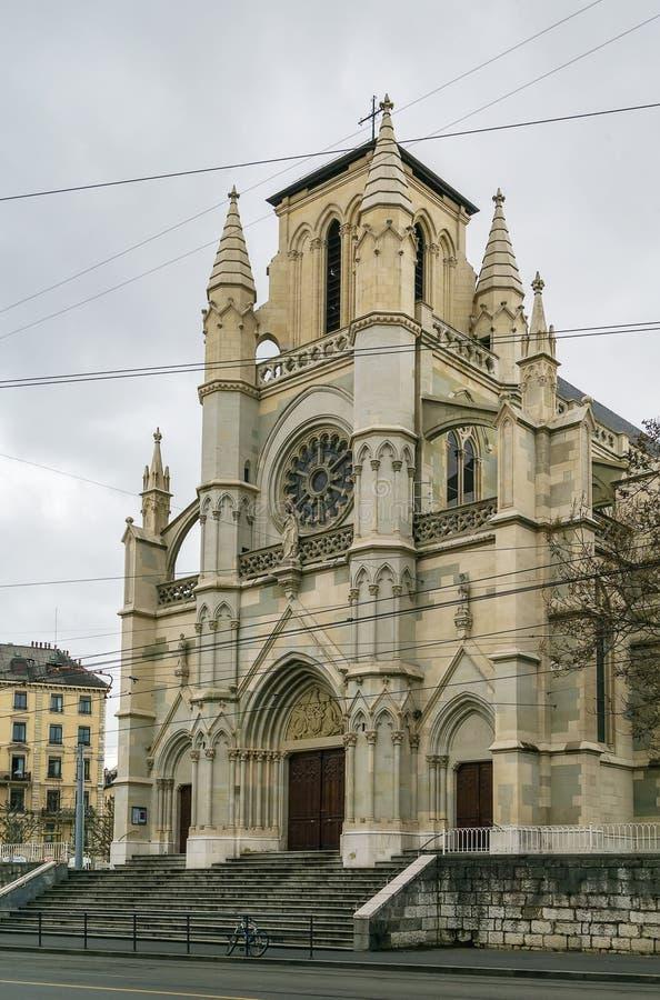 Basilika av vår dam av Genève, Schweiz royaltyfri fotografi