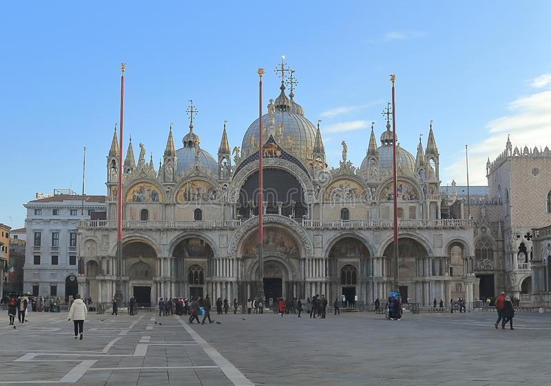 Basilika di San Marco på piazza San Marco eller Sts Mark fyrkant royaltyfri fotografi
