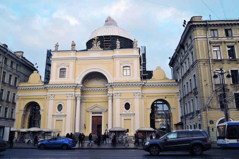 Basilika för helgonCatherine ` s på den Nevsky utsikten i St Petersburg Ryssland royaltyfri bild