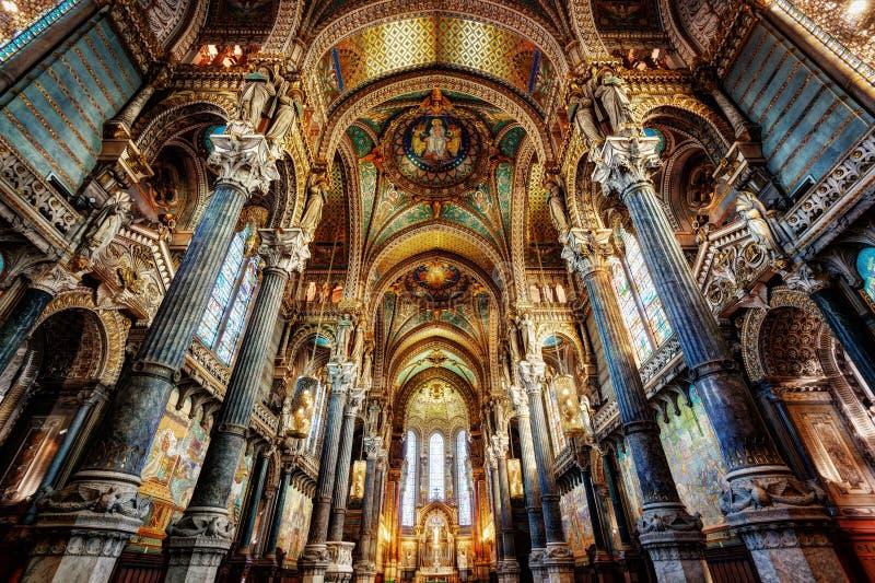 Basilika Notre Dame, Lyon, Frankreich stockfotografie