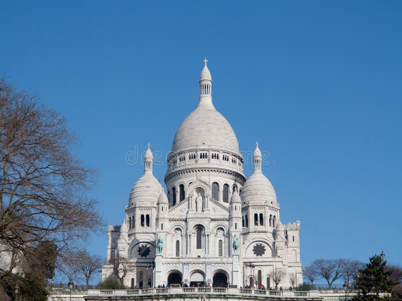 Basilika Sacre Coeur i Paris Frankrike arkivfoto
