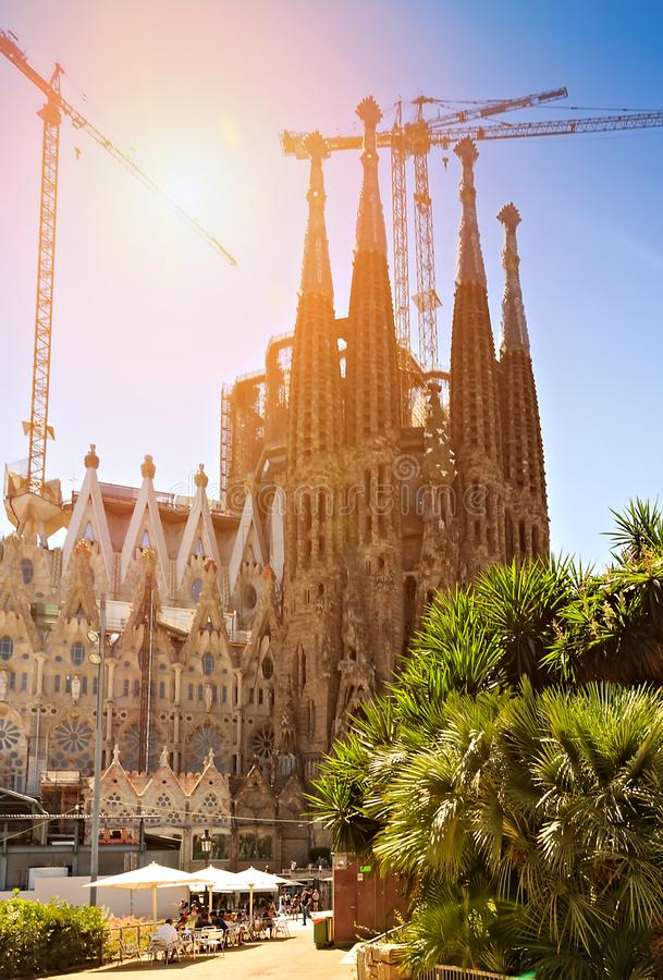 Basilika Sagrada Familia Barcelona, Spanien stockbild