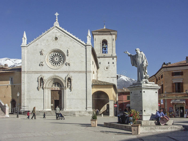 Basilika San Benedetto en Norcia foto de archivo libre de regalías