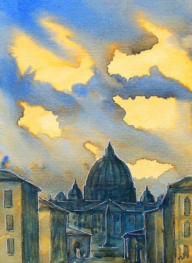 Basilika Sant Pietro som målas av vattenfärgen stock illustrationer