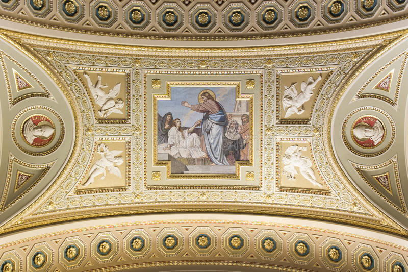 Basilika Str.-Stephens, Nahaufnahme des Jesus-Freskos lizenzfreies stockfoto
