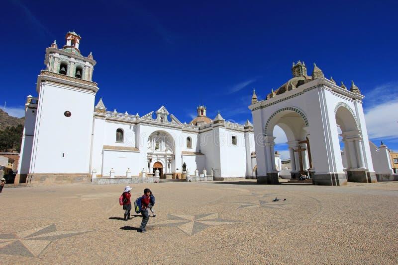 Basilika vår dam av Copacabana, Bolivia arkivfoton
