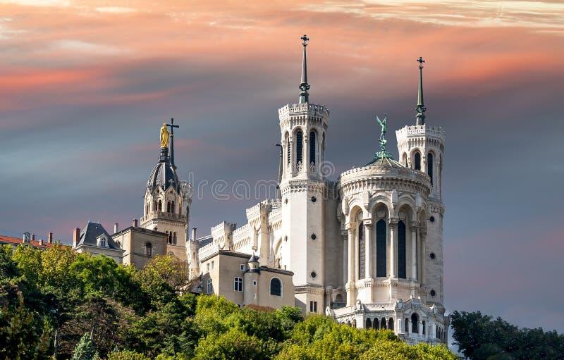 Basilika von Notre Dame de Fourviere stockfotos