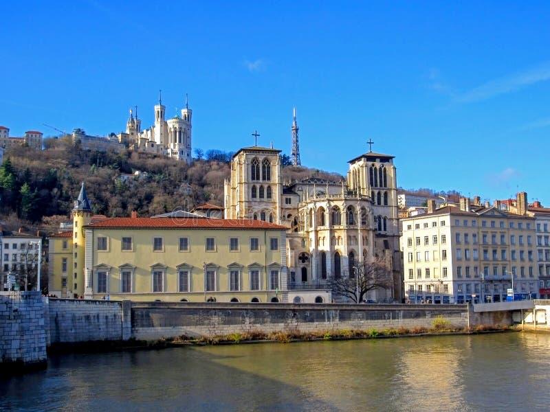 Basilika von Notre-Dame de Fourviere von Jungfrau Maria und Kathedrale von Saint John der Baptist, Lyon, Frankreich lizenzfreies stockfoto