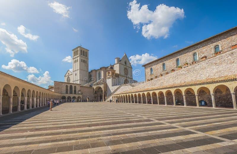 Basilika von St Francis von Assisi, Assisi, Umbrien, Italien lizenzfreies stockfoto