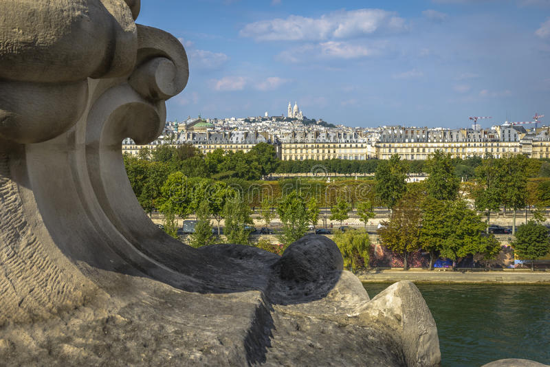 Basilikaansicht Sacre Coeur von Orsay-Museum stockbilder