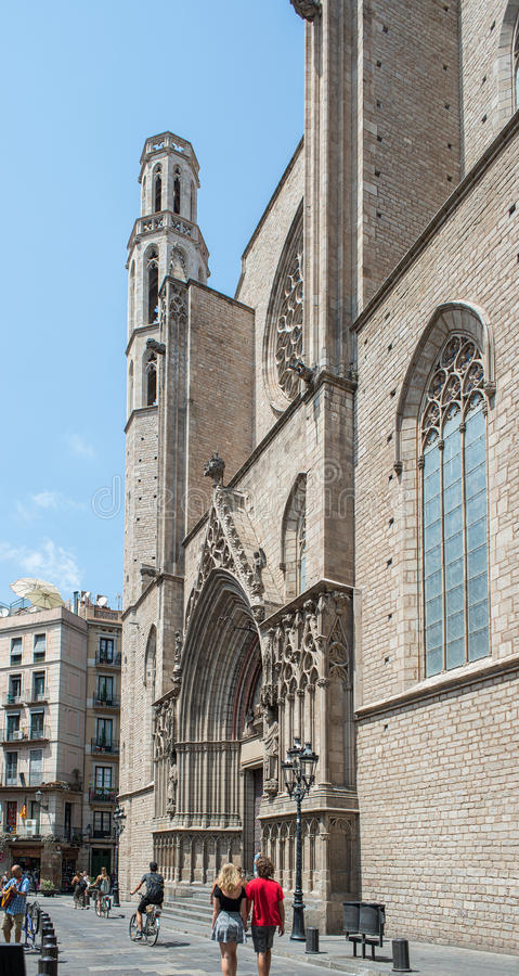 Basilikade Santa Maria del Mar Barcelona, Spanien lizenzfreie stockbilder