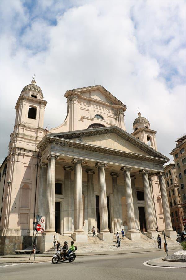 Basilikadella Santissima Annunziata del Vastato i Genua, Italien arkivbild
