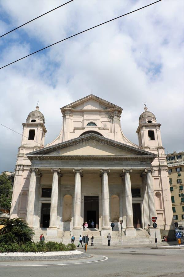 Basilikadella Santissima Annunziata del Vastato i Genua, Italien royaltyfria bilder