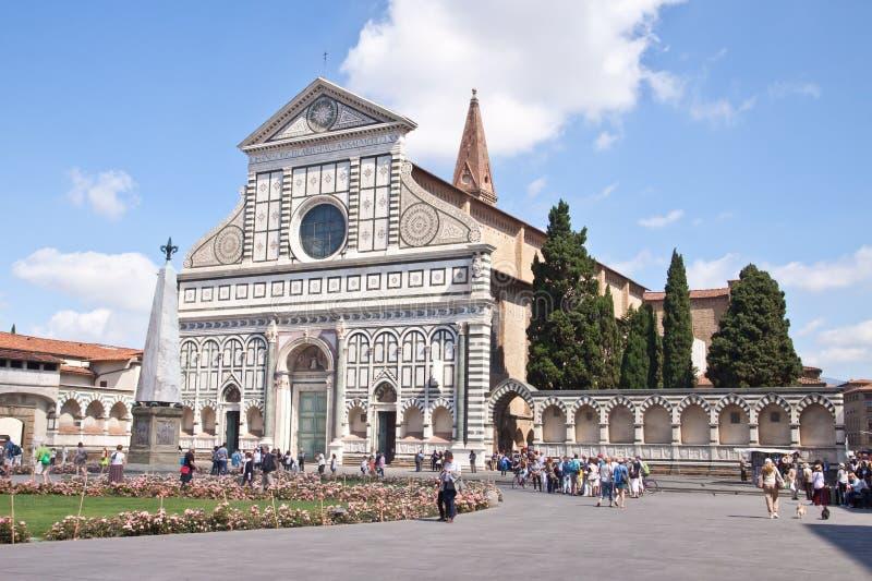 Basilikadi Santa Maria Novella i Florence, Tuscany, Italien royaltyfria foton