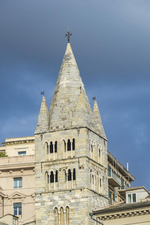 Basilica di Santa Maria delle Vigne i Genoa royaltyfria bilder
