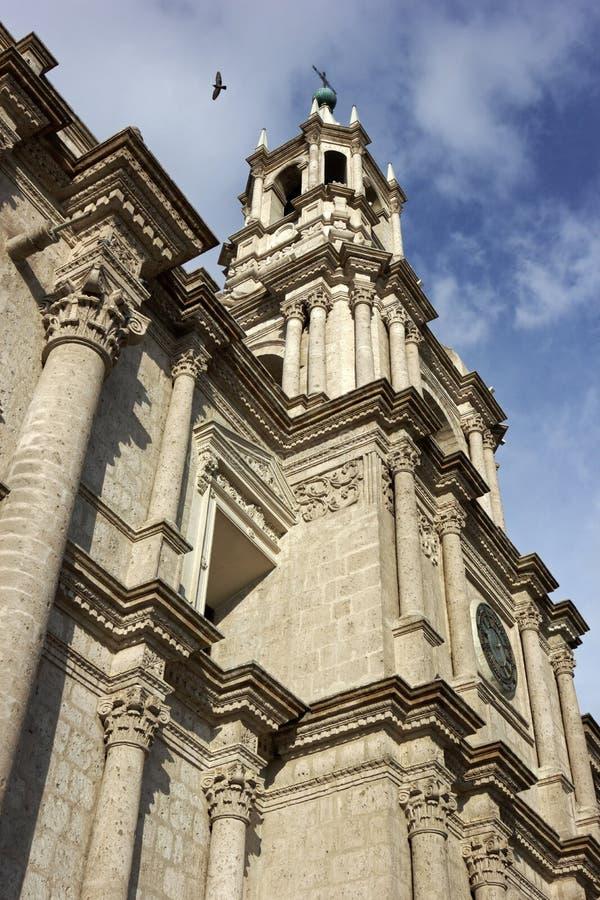 Basilikadomkyrka av Arequipa i Peru arkivfoton