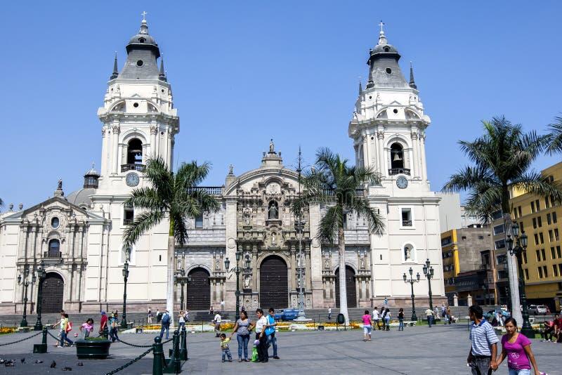 Basilikadomkyrkan av Lima i Peru fotografering för bildbyråer