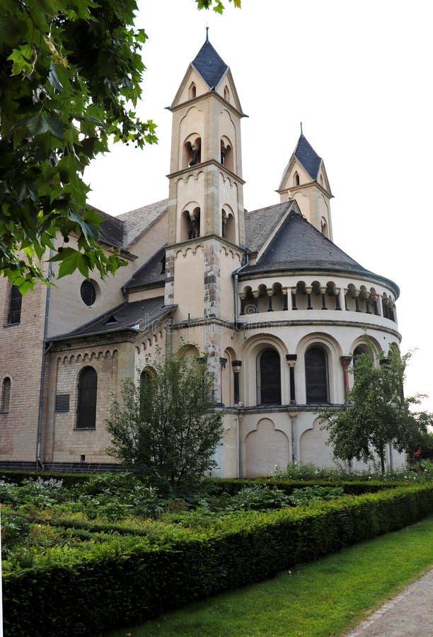 Basilikan av det Sanka svängbara hjulet; en kyrka i Koblenz, Tyskland arkivfoto