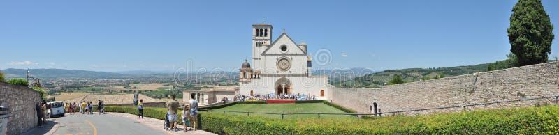 Basilikan av San Francesco Arezzo tuscany italy arkivbild