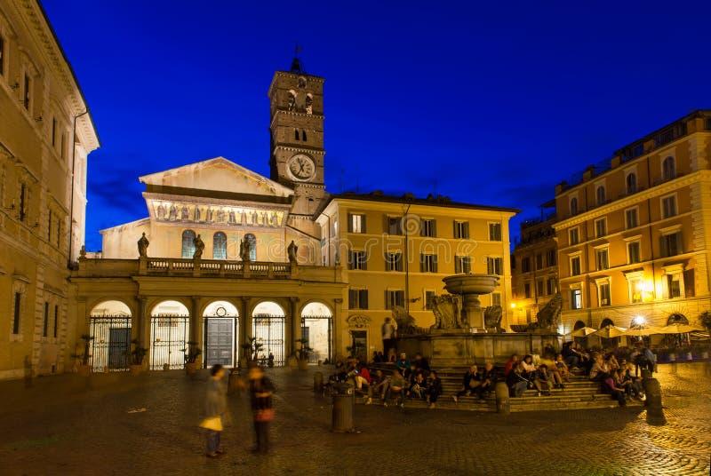 Basilikan av vår dam i Trastevere (basilikadien Santa Maria i Trastevere), Rome arkivfoto