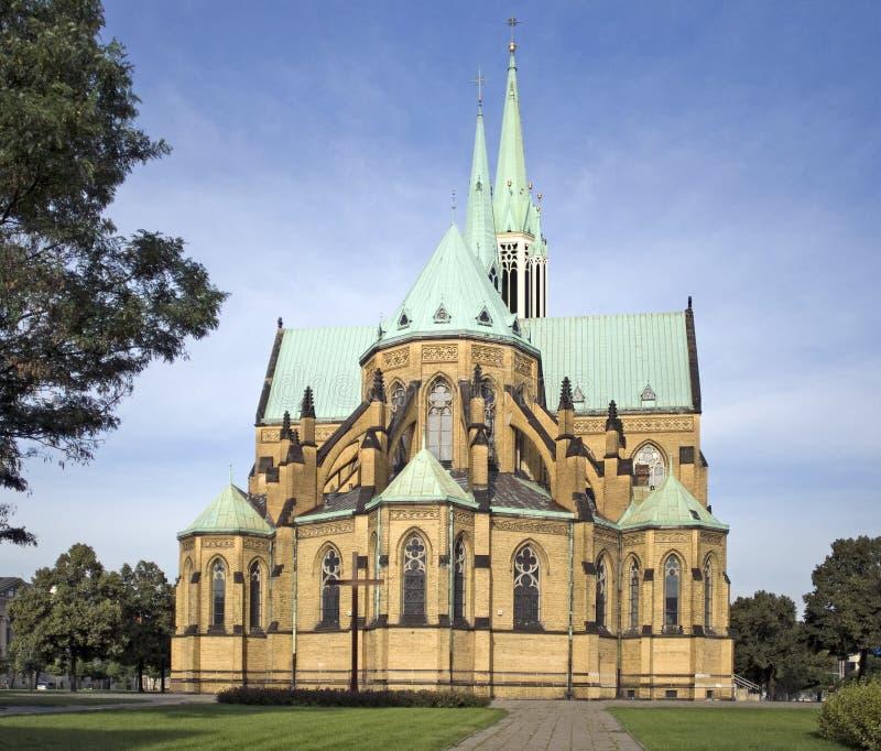 Basilique de cathédrale à Lodz, Pologne images libres de droits