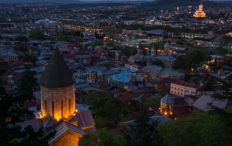 Basilique de Kldisubani St George la nuit photos stock