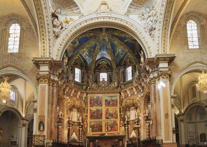 Basilique de l'acceptation de notre Madame d'intérieur de Valence, Espagne image stock