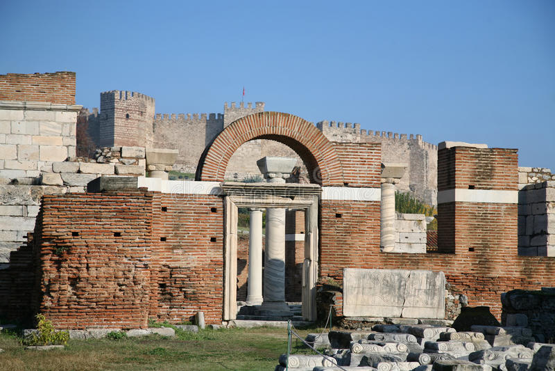 Basilique de rue John, Ephesus, Turquie image libre de droits