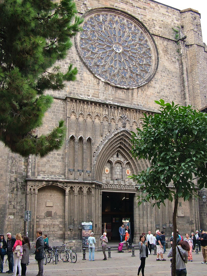 Basilique de Santa Maria del Pi à Barcelone, Espagne image libre de droits