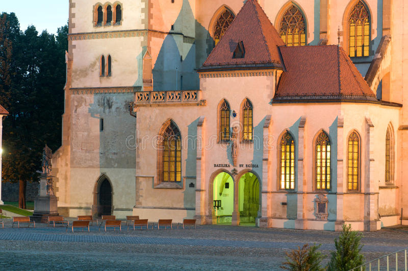 Basilique de stEgidius dans Bardejov - ravissez la soirée images libres de droits